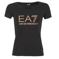 Textil Ženy Trička s krátkým rukávem Emporio Armani EA7 TRAIN LOGO SERIES GLITTER Černá / Zlatá / Růžová
