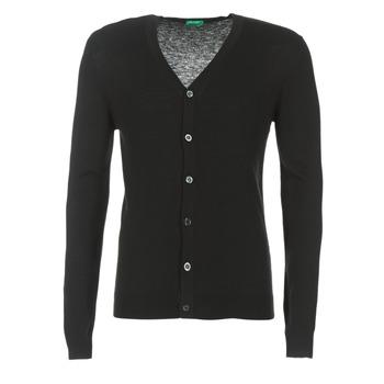 Textil Muži Svetry / Svetry se zapínáním Benetton MELODY Černá