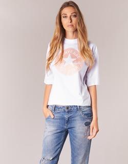 Textil Ženy Trička s krátkým rukávem Converse SATIN CP MOCK NECK TEE Bílá