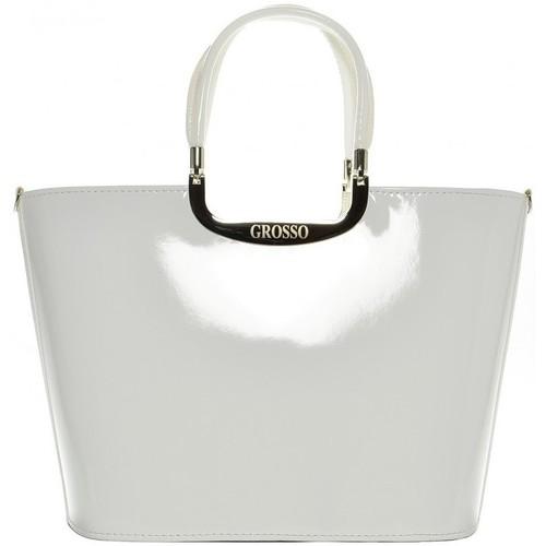 Taška Ženy Velké kabelky / Nákupní tašky Grosso Elegantní bílá lakovaná kabelka S7 bílá / smetanová