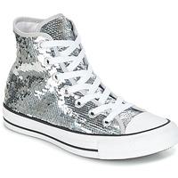 Boty Ženy Kotníkové tenisky Converse CHUCK TAYLOR ALL STAR SEQUINS HI SILVER/WHITE/BLACK Stříbrná