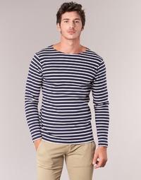 Textil Muži Trička s dlouhými rukávy Armor Lux GELGA Tmavě modrá / Bílá