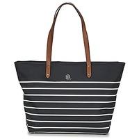 Taška Ženy Velké kabelky / Nákupní tašky Lauren Ralph Lauren BAINBRIDGE TOTE Černá / Bílá