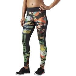 Textil Ženy Legíny Reebok Sport OS Elite Mesh Tight Černé, Zelené, Oranžové