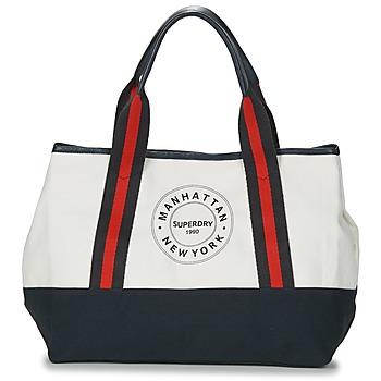 Taška Ženy Velké kabelky / Nákupní tašky Superdry BAYSHORE BEACH TOTE Bílá / Tmavě modrá / Červená
