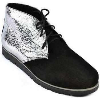 Boty Ženy Polokozačky Carsona Dámske čierno-strieborné kožené topánky ZEFIR čierna