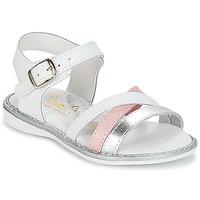 Boty Dívčí Sandály Citrouille et Compagnie IZOEGL Bílá / Stříbřitá / Růžová