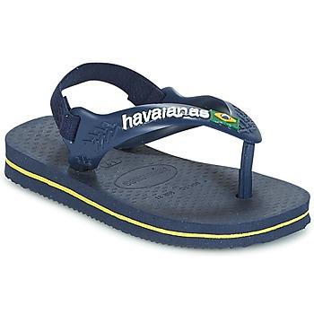 Boty Chlapecké Žabky Havaianas BABY BRASIL LOGO Tmavě modrá / Žlutá