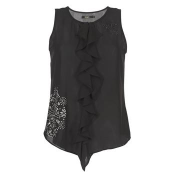 Textil Ženy Tílka / Trička bez rukávů  Desigual POALDAOR Černá