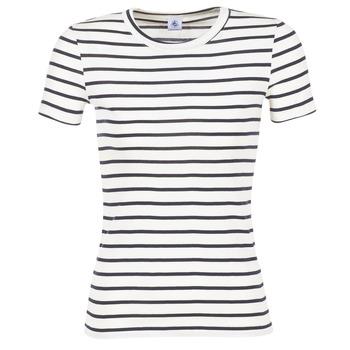 Textil Ženy Trička s krátkým rukávem Petit Bateau  Bílá / Tmavě modrá