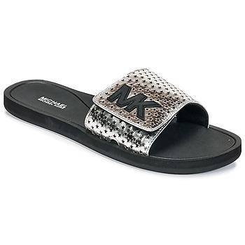 Boty Ženy pantofle MICHAEL Michael Kors MK SLIDE Černá / Stříbrná
