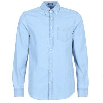 Textil Muži Košile s dlouhymi rukávy Gant THE INDIGO REG Modrá