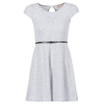 Textil Ženy Krátké šaty Moony Mood IKIMI Bílá / Tmavě modrá