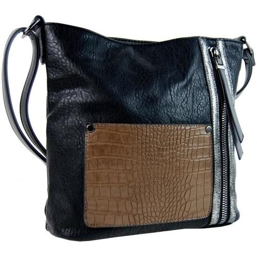 Taška Ženy Tašky přes rameno Sun-bags Dámská crossbody kabelka s čelní kroko kapsičkou F-014 černá černá