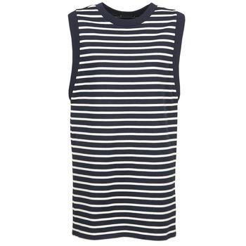Textil Ženy Krátké šaty Petit Bateau MARBRE Tmavě modrá / Krémově bílá