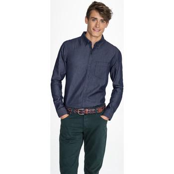 Textil Muži Košile s dlouhymi rukávy Sols BARRY MEN DENIM Azul