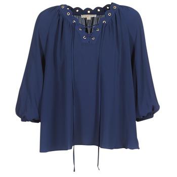 Textil Ženy Halenky / Blůzy MICHAEL Michael Kors SCALLP GRMT CHAIN TOP Tmavě modrá