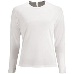 Textil Ženy Trička s dlouhými rukávy Sols SPORT LSL WOMEN Blanco