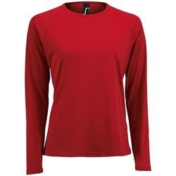 Textil Ženy Trička s dlouhými rukávy Sols SPORT LSL WOMEN Rojo
