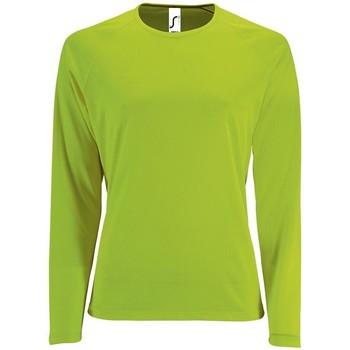 Textil Ženy Trička s dlouhými rukávy Sols SPORT LSL WOMEN Verde