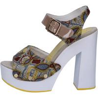 Boty Ženy Sandály Suky Brand sandali beige tessuto vernice AB308 Beige