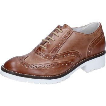 Boty Ženy Šněrovací společenská obuv Crown classiche marrone pelle BZ932 Marrone