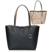 Taška Ženy Velké kabelky / Nákupní tašky Lauren Ralph Lauren MERRIMACK REVERSIBLE TOTE MEDIUM Černá / Šedobéžová