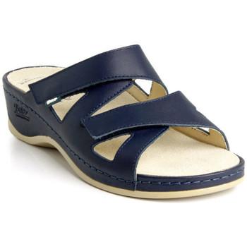 Boty Ženy Dřeváky Batz Dámske kožené modré šľapky EVELIN tmavomodrá