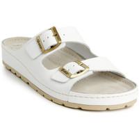 Boty Ženy Dřeváky Batz Dámske kožené biele šľapky ZENNA biela