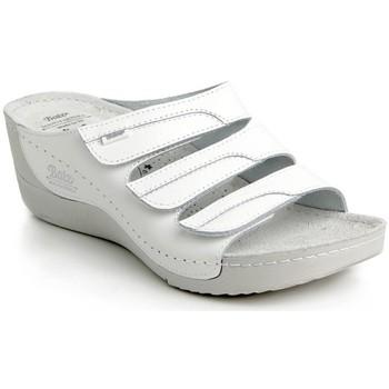 Boty Ženy Dřeváky Batz Dámske kožené biele šľapky OLGA biela