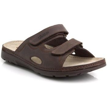 Boty Muži Dřeváky Batz Pánske kožené hnedé šľapky MIKE hnedá