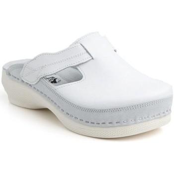 Boty Ženy Dřeváky Batz Dámske kožené biele šľapky FLOWER biela
