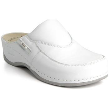 Boty Ženy Dřeváky Batz Dámske kožené biele šľapky FC10 biela