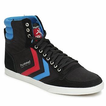Boty Kotníkové tenisky Hummel TEN STAR HIGH CANVAS Černá / Modrá / Červená